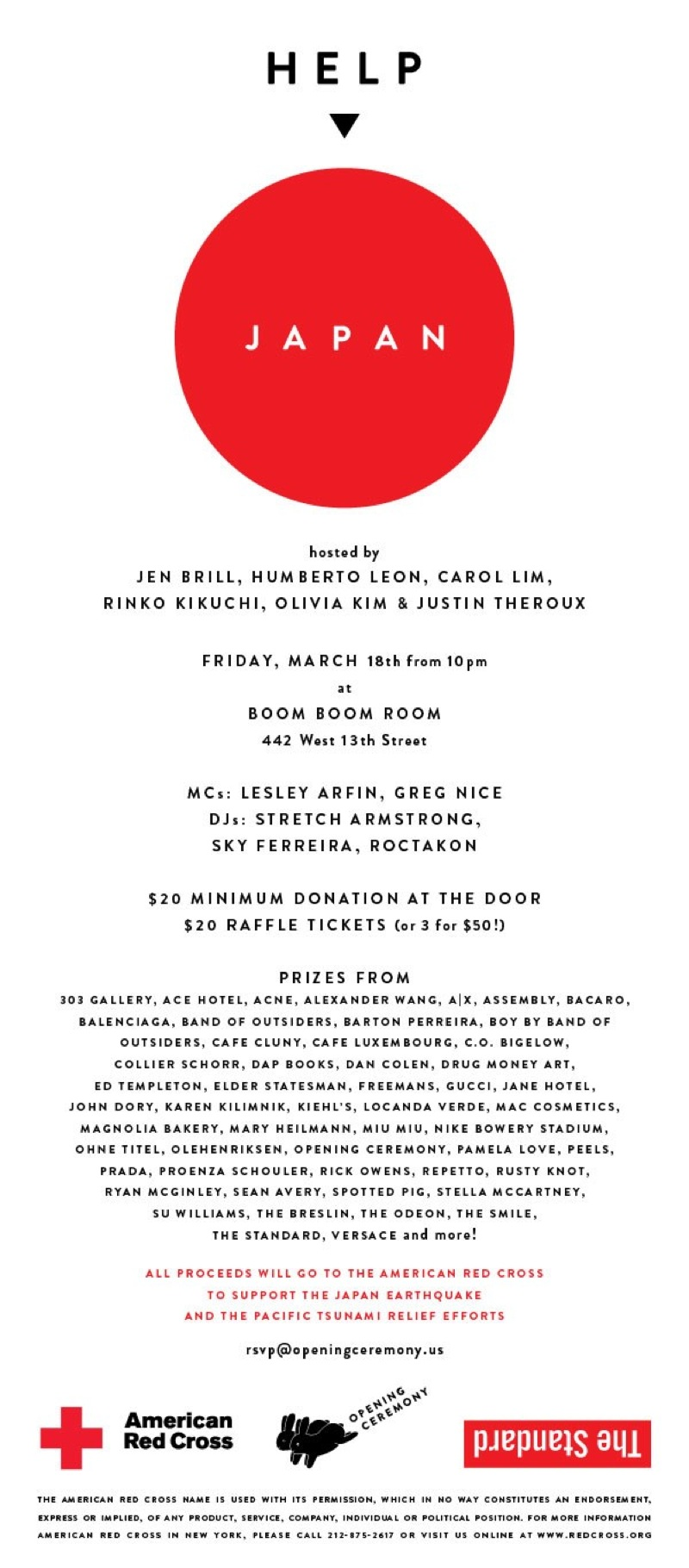 SURF COLLECTIVE NYC - FUNDRAISER INVITE FOR JAPAN - OPENING CEREMONY / RED CROSS / THE STANDARD